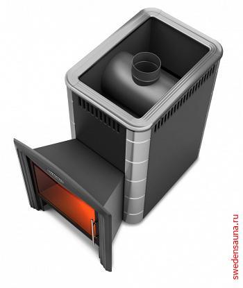 Дровяная печь Термофор Ангара Inox Витра антрацит  - фото, описание, отзывы.