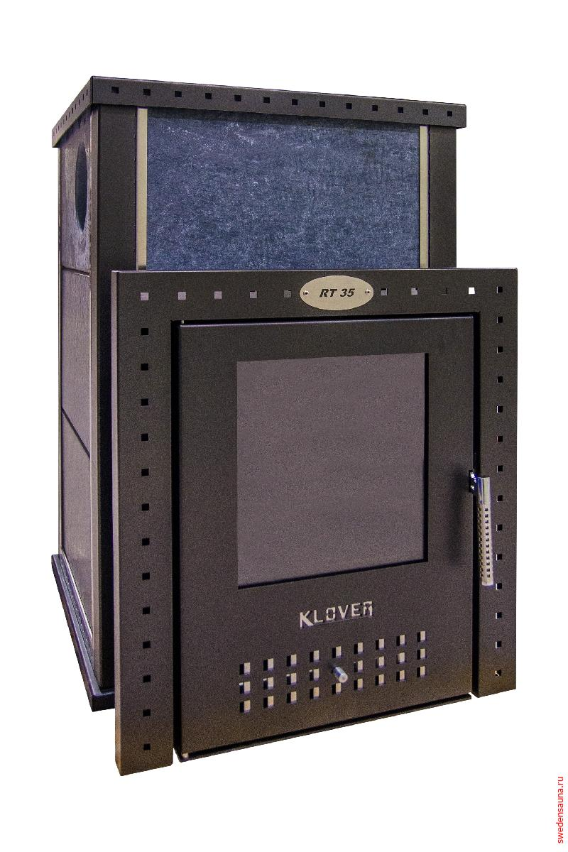 Дровяная печь KLOVER KLV-RT-35 S (Серпентинит 40 мм) - фото, описание, отзывы.