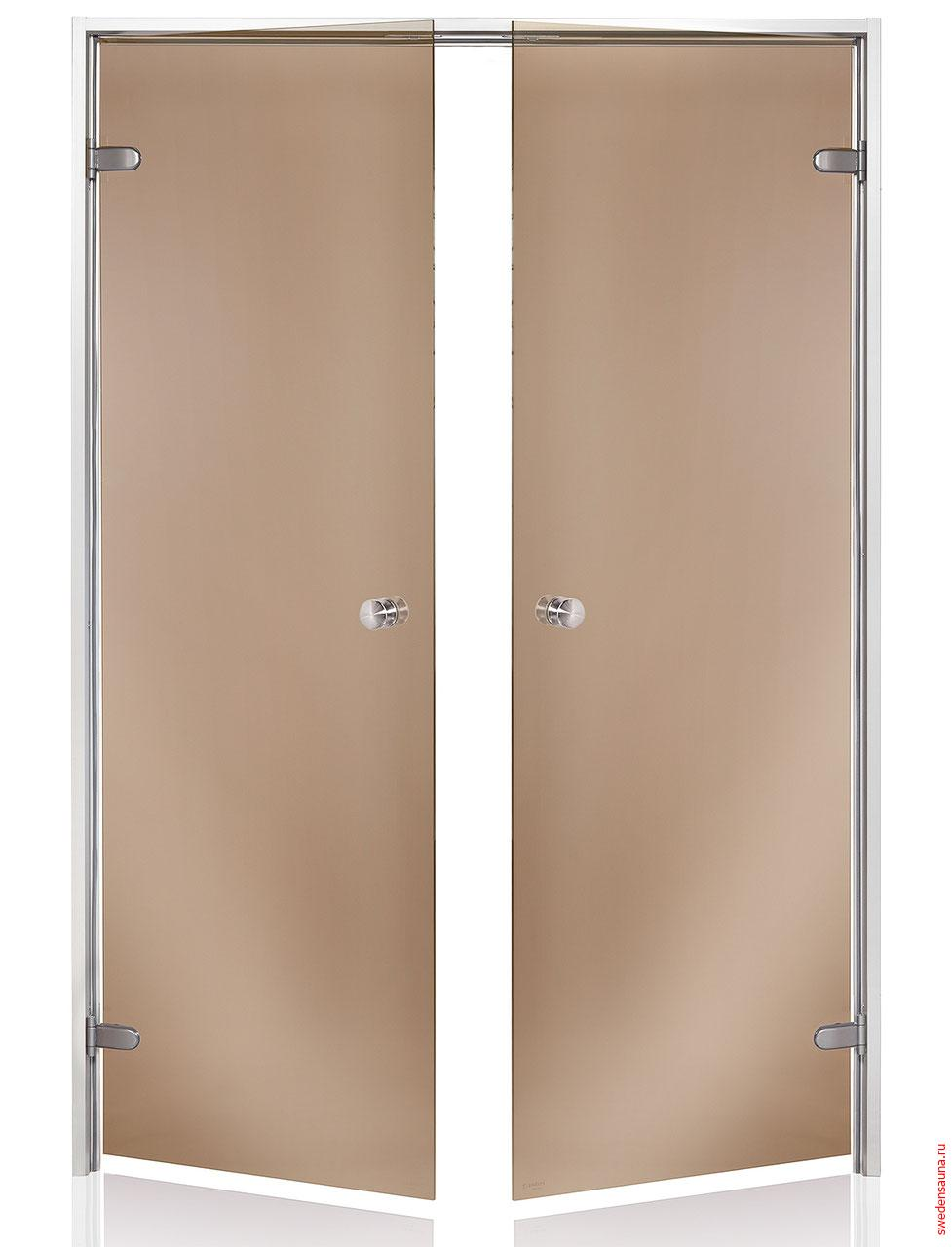 Дверь двойная Harvia ALU 13×19 стекло бронза - фото, описание, отзывы.