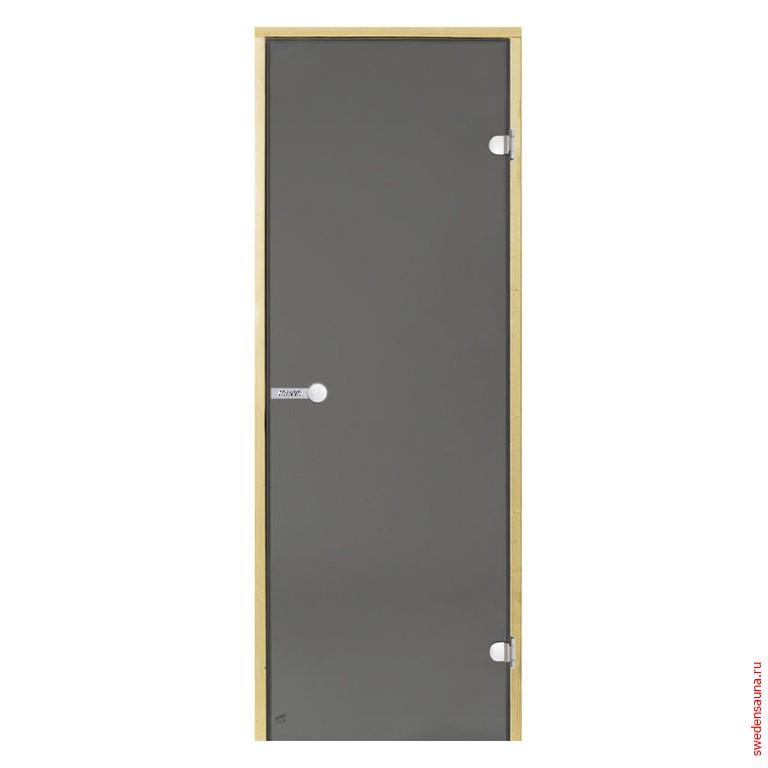 Дверь для сауны Harvia STG 8×19 коробка сосна, стекло серое - фото, описание, отзывы.